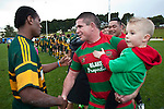 Victorious captain Grant Henson shakes the hand of Pukekohe's David Raikuna. Counties Manukau McNamara Cup Premier Club Rugby final between Pukekohe andWaiuku, held at Bayer Growers Stadium, on Saturday July 17th. Waiuku won 25 - 20.