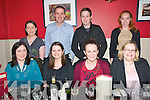Dinner Party : Members of the staff of the Finance Department, Kerry Ingredients, Listowel pictured on a nigh out at Fitzgerald's Restautant, Listowel on Thursday night last. Front : Elleanor Collins, Jenny Kearney, Mia Lucas & Mairead Donovan, Back : Madeline McDonagh, Padraigh O'Sullivan, Stephen Flannagan & Emer O'Shaughnessy.