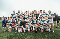 Ealing Trailfinders celebrate victory against Leinster Rugby A in the British & Irish Cup Final match between Ealing Trailfinders and Leinster Rugby at Castle Bar, West Ealing, England  on 12 May 2018. Photo by David Horn / PRiME Media Images.