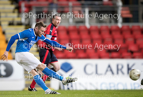 Dave Mackay Testimonial: St Johnstone v Dundee&hellip;06.10.17&hellip;  McDiarmid Park&hellip; <br />Denny Johnstone scores<br />Picture by Graeme Hart. <br />Copyright Perthshire Picture Agency<br />Tel: 01738 623350  Mobile: 07990 594431