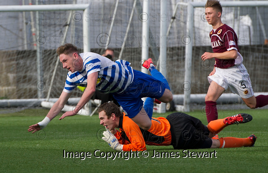 Penalty controversy number 1 : Morton's Declan McManus knocks the ball past Stenny goalkeeper Greg Fleming before hitting the ground.