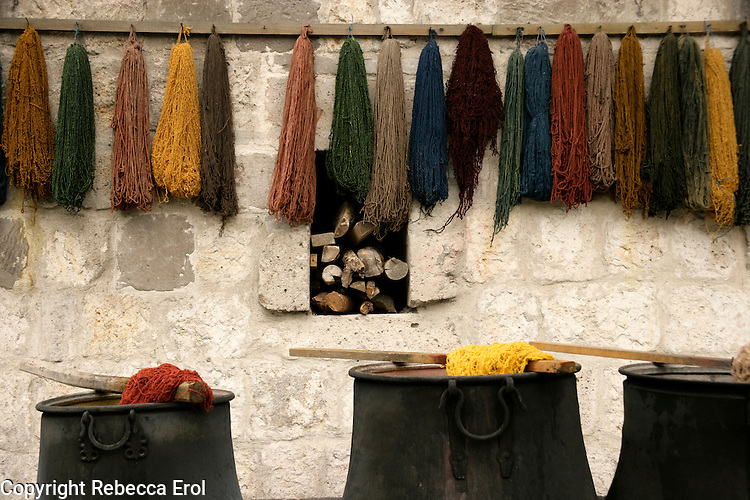 Dyed wool ready for carpet weaving, Cappadocia, Turkey