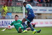 Myles Weston of Wycombe Wanderers takes advantage of a defence mix up to score his goal during the Sky Bet League 2 match between Leyton Orient and Wycombe Wanderers at the Matchroom Stadium, London, England on 1 April 2017. Photo by Andy Rowland.