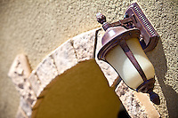 Front Outdoor Lighting with Stone Accent Trim Stock Photo
