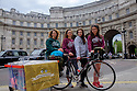 "The all-female HandleBards troupe pose for photos in Trafalgar Square, before setting off on their 1,000 mile journey from London to George Square in Edinburgh, stopping and performing at venues around the UK on the way. The women will join the group's already-established all-male troupe on the road, for the company's ""4 for 400""season - four Shakespeare plays, each performed by four actors, who will cycle to over 70 parks, castles, boats, gardens, cathedrals, bicycle yards and stately homes this summer. Picture shows (l to r): Lizzie Muncey, Lotte Tickner, Lianne Harvey, Elle Dillon Reams."