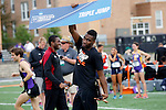 28 MAY 2016:  Benjamin Ezike of Buffalo State celebrates his first place finish during the Division III Men's and Women's Outdoor Track & Field Championship held at Walston Hoover Stadium on the Wartburg College campus in Waverly, IA. Ezike won the event with a jump of 15.53 meters. Conrad Schmidt/NCAA Photos