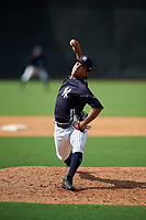 New York Yankees pitcher Deivi Garcia (31) delivers a pitch during a Florida Instructional League game against the Philadelphia Phillies on October 11, 2018 at Yankee Complex in Tampa, Florida.  (Mike Janes/Four Seam Images)