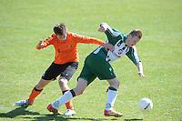 VOETBAL: JOURE: Sportpark de Hege Simmerdyk, 20-04-2013, Amateurvoetbal 2012-2013, SC Joure zat. afd. - VV Oudehaske, Gijbert Dijkstra (#5)  Sebastiaan Kooistra (#11), Eindstand 1-1, ©foto Martin de Jong