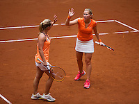 Netherlands, Den Bosch, April 18 2015 Maaspoort, Fedcup Netherlands-Australia,  Doubles:    Michaëlla Krajicek (R) and Richel Hogenkamp (NED)<br /> Photo: Tennisimages/Henk Koster