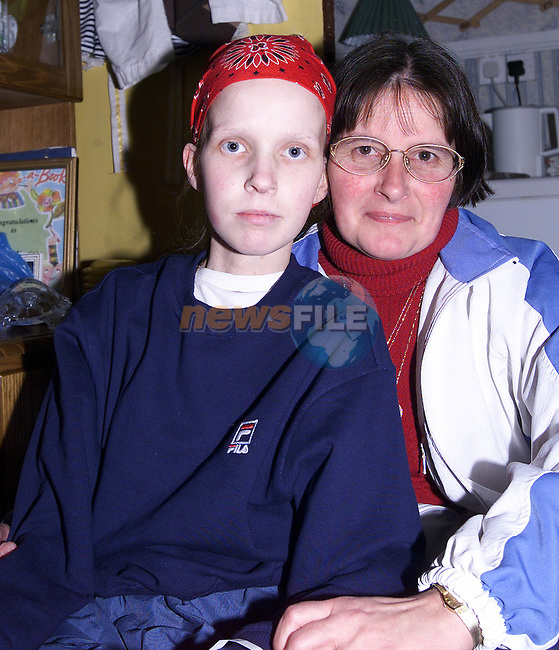 Stephnie Kerrigan suffering with cancer and her mother Susan who can't get a passport to bring her 16 year old daughter to Lourdes..Pic Fran Caffrey Newsfile.©Newsfile Ltd..Story Des Grant.