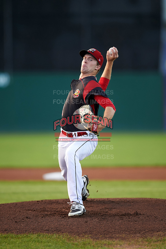 Batavia Muckdogs starting pitcher Travis Neubeck (13) during a game against the Staten Island Yankees on August 27, 2016 at Dwyer Stadium in Batavia, New York.  Staten Island defeated Batavia 13-10 in eleven innings. (Mike Janes/Four Seam Images)