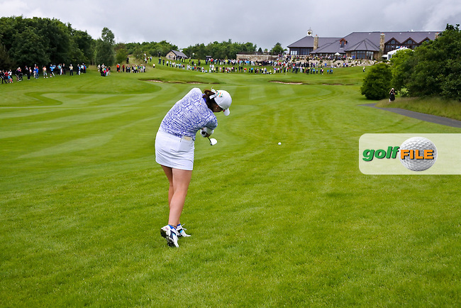 Olivia Mehaffey on the 18th during Sunday Singles matches at the 2016 Curtis cup from Dun Laoghaire Golf Club, Ballyman Rd, Enniskerry, Co. Wicklow, Ireland. 12/06/2016.<br /> Picture Fran Caffrey / Golffile.ie<br /> <br /> All photo usage must carry mandatory copyright credit (&copy; Golffile | Fran Caffrey)