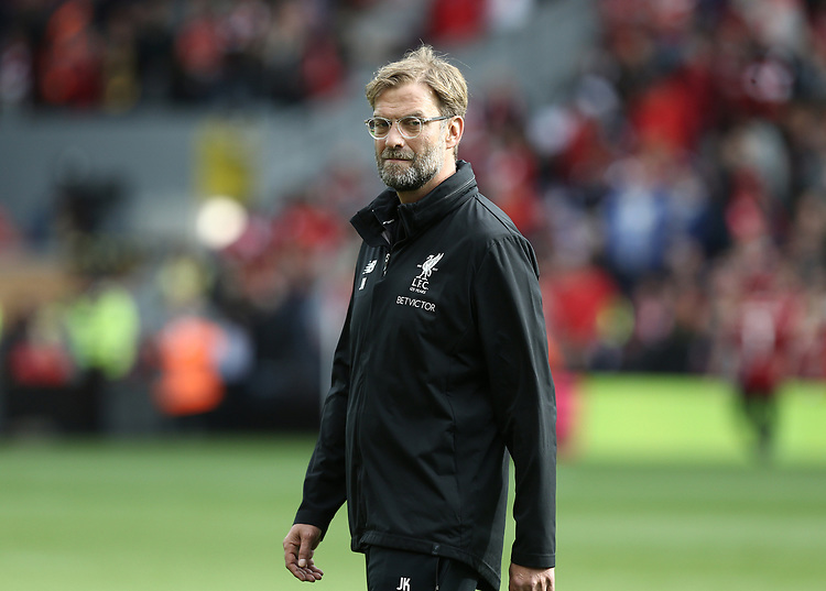 Liverpool manager Jurgen Klopp during the pre-match warm-up <br /> <br /> Photographer Rich Linley/CameraSport<br /> <br /> The Premier League - Liverpool v Manchester United - Saturday 14th October 2017 - Anfield - Liverpool<br /> <br /> World Copyright &copy; 2017 CameraSport. All rights reserved. 43 Linden Ave. Countesthorpe. Leicester. England. LE8 5PG - Tel: +44 (0) 116 277 4147 - admin@camerasport.com - www.camerasport.com