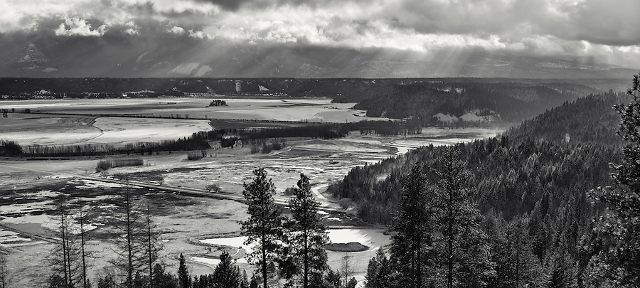 A toned black and white panorama of the Kootenai Wildlife Refuge is seen in Bonner County, Idaho.