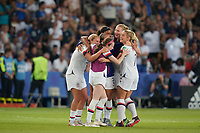 PARIS, FRANCE - JUNE 28: Rose Lavelle #16, Samantha Mewis #3, Abby Dahlkemper #7 during a 2019 FIFA Women's World Cup France quarter-final match between France and the United States at Parc des Princes on June 28, 2019 in Paris, France.