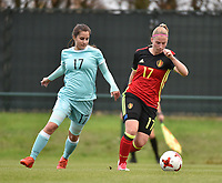 20171123 - TUBIZE , BELGIUM : Belgian Jana Coryn (R) pictured during a friendly game between the women teams of the Belgian Red Flames and Russia at complex Euro 2000 in Tubize , Thursday  23 October 2017 ,  PHOTO Dirk Vuylsteke | Sportpix.Be