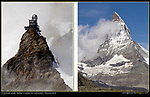 Switzerland, Eiger.  <br /> A pointed peak is a great icon, like the Matterhorn (right) and the Jungfraujoch Observatory (left).