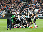 Newcastle United celebrate winning the EFL Championship during the EFL Championship match at St James' Park Stadium, Newcastle upon Tyne. Picture date: May 7th, 2017. Pic credit should read: Jamie Tyerman/Sportimage