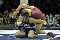 STATE COLLEGE, PA - JANUARY 25: Scott Schiller of the Minnesota Golden Gophers and Morgan McIntosh of the Penn State Nittany Lions during their match on January 25, 2015 at Recreation Hall on the campus of Penn State University in State College, Pennsylvania. (Photo by Hunter Martin/Getty Images) *** Local Caption *** Morgan McIntosh;Scott Schiller