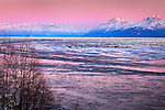 Pastel colored sunset over Chugach Mountains and icy Knik Arm of Cook Inlet, Southcentral Alaska, Winter.