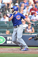 Chicago Cubs starting pitcher Jake Arrieta (49) swings at a pitch during a game against the Atlanta Braves at Turner Field on June 11, 2016 in Atlanta, Georgia. The Cubs defeated the Braves 8-2. (Tony Farlow/Four Seam Images)