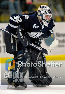 """5 January 2007: University of New Hampshire goaltender Kevin Regan (32) from South Boston, MA,  in action against the University of Vermont Catamounts at Gutterson Fieldhouse in Burlington, Vermont. The UNH Wildcats defeated Vermont 7-1 in front of a record setting 48th consecutive sellout at """"the Gut""""...Mandatory Photo Credit: Ed Wolfstein Photo.<br />"""