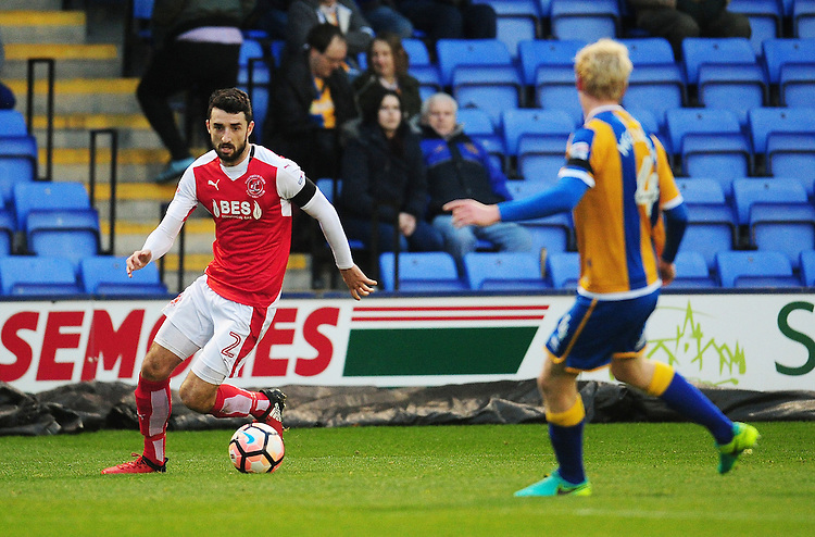 Fleetwood Town's Conor McLaughlin<br /> <br /> Photographer Kevin Barnes/CameraSport<br /> <br /> The Emirates FA Cup Second Round - Shrewsbury Town v Fleetwood Town - Saturday 3rd December 2016 - Greenhous Meadow - Shrewsbury <br />  <br /> World Copyright &copy; 2016 CameraSport. All rights reserved. 43 Linden Ave. Countesthorpe. Leicester. England. LE8 5PG - Tel: +44 (0) 116 277 4147 - admin@camerasport.com - www.camerasport.com
