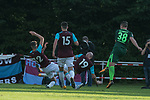 28.07.2017, Sportplatz, Schneverdingen, GER, FSP SV Werder Bremen (GER) vs WestHam United (ENG), <br /> <br /> im Bild<br /> Niklas Schmidt (Werder Bremen #38) mit dem fast 2 zu 0 gegen Declan Rice  (WestHam) <br /> James Collins (WestHam)<br /> Reece Burke (WestHam)<br /> <br /> <br /> Foto &copy; nordphoto / Kokenge