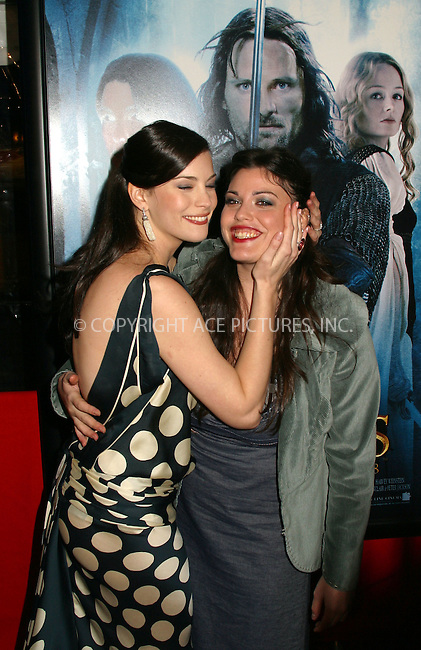 Liv Tyler and sister Mia at the World Premiere of The Lord of the Rings: The Two Towers. New York, December 5, 2002...Please byline: Alecsey Boldeskul/NY Photo Press.   ..*PAY-PER-USE*      ....NY Photo Press:  ..phone (646) 267-6913;   ..e-mail: info@nyphotopress.com