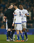 Diego Costa of Chelsea gets in the face of referee Michael Oliver following his red during the Emirates FA Cup match at Goodison Park. Photo credit should read: Philip Oldham/Sportimage