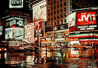 Times Square at night, July 1997, New York City. New York City NY USA Times Square, Manhattan.