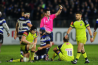 Pat Cilliers of Leicester Tigers is shown a yellow card by the referee. Anglo-Welsh Cup match, between Bath Rugby and Leicester Tigers on November 4, 2016 at the Recreation Ground in Bath, England. Photo by: Patrick Khachfe / Onside Images