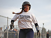 Grace Bandini #28 of Oceanside reacts after crossing home plate in the bottom of the sixth inning of a Nassau County varsity softball game against MacArthur at Oceanside High School on Thursday, Mar. 31, 2016. MacArthur won by a score of 5-2.