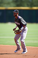 Colorado Rockies Carlos Herrera (12) during an Instructional League game against SK Wyvern of Korea on October 5, 2016 at Salt River Fields at Talking Stick in Scottsdale, Arizona.  (Mike Janes/Four Seam Images)