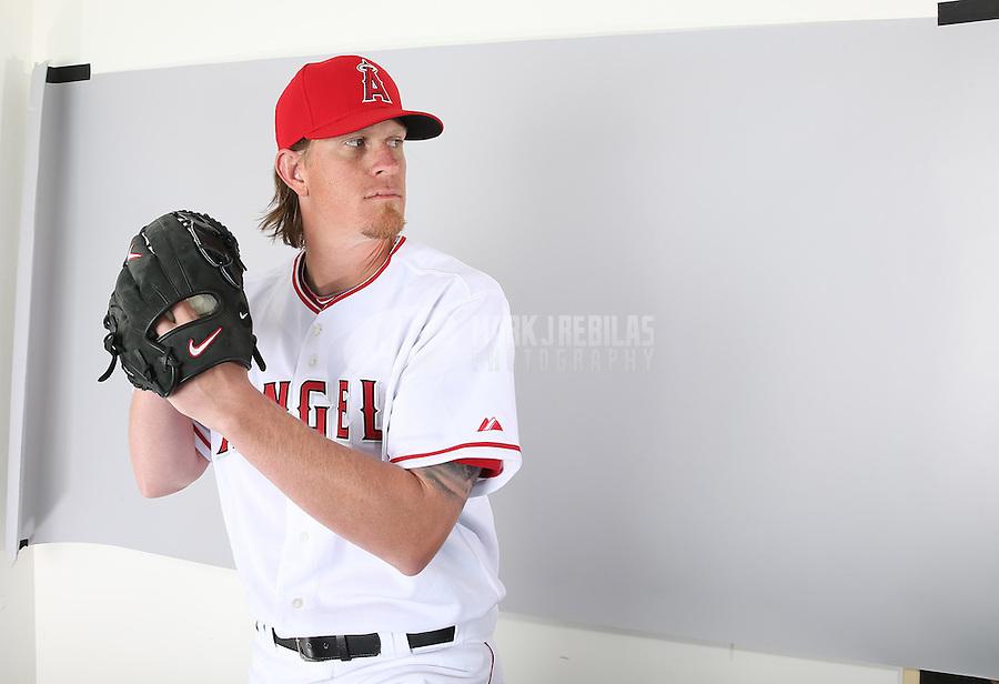 Feb. 21, 2013; Tempe, AZ, USA: Los Angeles Angels pitcher Jered Weaver poses for a portrait during photo day at Tempe Diablo Stadium. Mandatory Credit: Mark J. Rebilas-