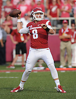 NWA Democrat-Gazette/ANDY SHUPE<br /> Arkansas' Austin Allen looks to pass against the University of Texas at El Paso Saturday, Sept. 5, 2015, during the fourth quarter of play in Razorback Stadium in Fayetteville. Visit nwadg.com/photos to see more from the game.
