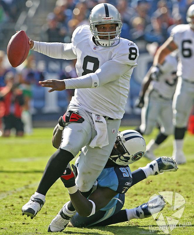 Tennessee Titans host the Oakland Raiders at LP Field in Nashville, Tennessee on October 28, 2007. (Photo by Frederick Breedon IV)