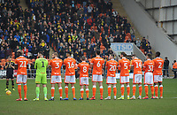Blackpool observe a minutes applause in memory of the late Fred Pickering<br /> <br /> Photographer Kevin Barnes/CameraSport<br /> <br /> The EFL Sky Bet League One - Blackpool v Oxford United - Saturday 23rd February 2019 - Bloomfield Road - Blackpool<br /> <br /> World Copyright © 2019 CameraSport. All rights reserved. 43 Linden Ave. Countesthorpe. Leicester. England. LE8 5PG - Tel: +44 (0) 116 277 4147 - admin@camerasport.com - www.camerasport.com