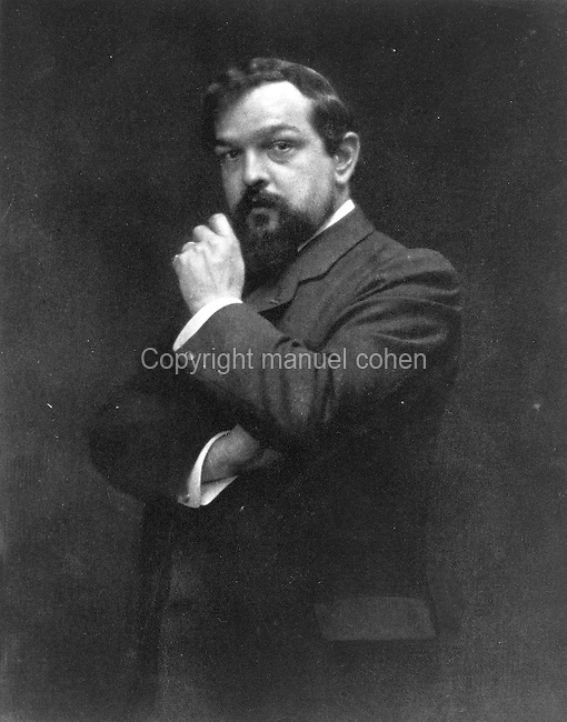 Portrait of Claude Debussy, 1862-1918, French composer of Impressionist music, c. 1905-08, heliograph after a photograph by Otto. Heliography is a photographic process using bitumen of Judea, which hardens in proportion to exposure to light. Copyright © Collection Particuliere Tropmi / Manuel Cohen