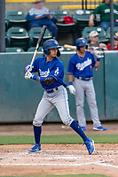 Rancho Cucamonga Quakes left fielder Brayan Morales (10) during a California League game against the Visalia Rawhide on April 8, 2019 in Visalia, California. Rancho Cucamonga defeated Visalia 4-1. (Zachary Lucy/Four Seam Images)