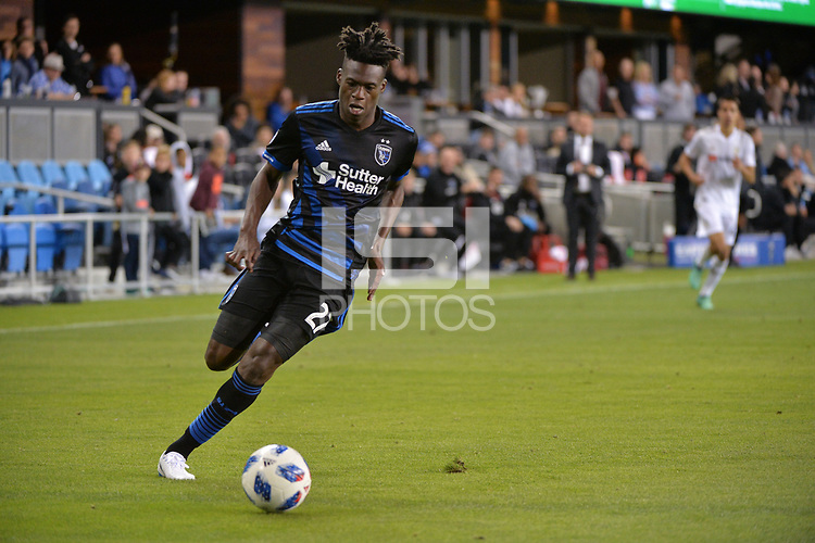 San Jose, CA - Saturday June 09, 2018: Fatai Alashe during a Major League Soccer (MLS) match between the San Jose Earthquakes and Los Angeles Football Club at Avaya Stadium.