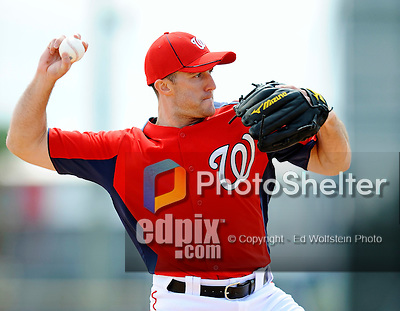 25 February 2012: Washington Nationals' infielder Stephen Lombardozzi takes some grounder drills during the first full squad Spring Training workout at the Carl Barger Baseball Complex in Viera, Florida. Mandatory Credit: Ed Wolfstein Photo