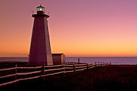 lighthouse, sunrise, sunset, Newfoundland, NF, Canada, Lighthouse at Cape Anguilla at sunset on the Gulf of St. Lawrence.