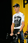 Defending Champion Christopher Froome (GBR) Team Sky on stage at the Team Presentations for the 105th Tour de France 2018 held on Napoleon Square in La Roche-sur-Yon, France. 5th July 2018. <br /> Picture: ASO/Bruno Bade | Cyclefile<br /> All photos usage must carry mandatory copyright credit (&copy; Cyclefile | ASO/Bruno Bade)