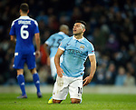 Sergio Aguero of Manchester City dejected during the UEFA Champions League match at the Etihad Stadium. Photo credit should read: Philip Oldham/Sportimage