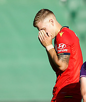 11th January 2020; HBF Park, Perth, Western Australia, Australia; A League Football, Perth Glory versus Adelaide United; Riley McGree of Adelaide United reacts to missing a shot on goal - Editorial Use