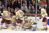 Patch Alber (BC - 3), Bill Arnold (BC - 24), Barry Almeida (BC - 9), Parker Milner (BC - 35), Brian Dumoulin (BC - 2) - The Boston College Eagles defeated the Northeastern University Huskies 7-1 in the opening round of the 2012 Beanpot on Monday, February 6, 2012, at TD Garden in Boston, Massachusetts.