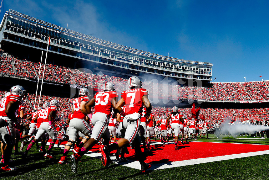 The Ohio State Buckeyes take the field for their college football game against the Maryland Terrapins on Saturday, October 10, 2015 at Ohio Stadium in Columbus, Ohio. (Joshua A. Bickel/The Columbus Dispatch)