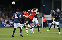 Huddersfield Town's Jonathan Hogg challenges Luton Town's James Collins and Jacob Butterfield<br /> <br /> Photographer Rob Newell/CameraSport<br /> <br /> The EFL Sky Bet Championship - Luton Town v Huddersfield Town - Saturday 31 August 2019 - Kenilworth Stadium - Luton<br /> <br /> World Copyright © 2019 CameraSport. All rights reserved. 43 Linden Ave. Countesthorpe. Leicester. England. LE8 5PG - Tel: +44 (0) 116 277 4147 - admin@camerasport.com - www.camerasport.com