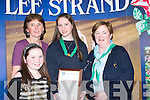 DELIGHTED: A delighted Sinead Tangney (Killarney) with her Certificate of Merit which was presented to her at the Garda Youths Awards, sponsored by Lee Strand, on Friday night at the Brandon Hotel, Tralee. Also with Sinead were Ann and Fiona Tangney and Maura Fitzgerald..